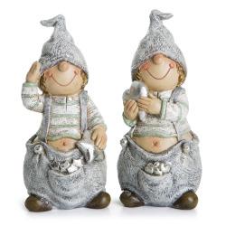 Barn 2 ass polyresin grå/sølv H:12