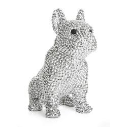 Dekorhund sittende sølv m/