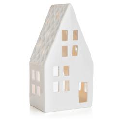 Dekorhus for telys hvit porselen H:20,6cm
