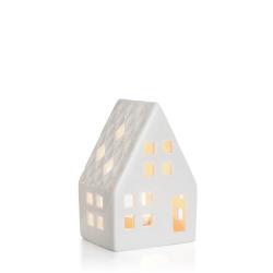 Dekorhus for telys hvit porselen H:11 cm