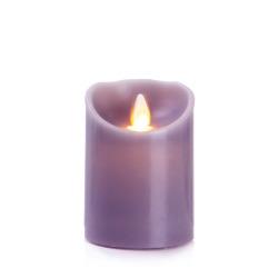 Kubbelys m/voks LED lilla H:10 Ø:7,5 cm