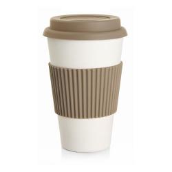 Kaffekrus m/silikonlokk beige 400 ml