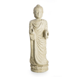 Figur Buddha stående keramikk sandfarget