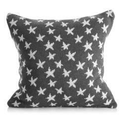 Pute strikket grå m/hvite lurex stjerner 45x45 cm