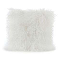 Lammeskinnspute Tibetan langhåret hvit 40x40 cm