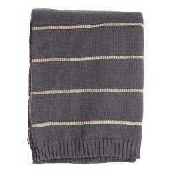 Pledd Tom i bomull grått m/gule striper 125x160 cm