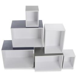 Hyllesett 6 deler hvit/grå/sort