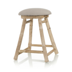 Krakk rund bambus m/beige sete Ø:30 H:43 cm