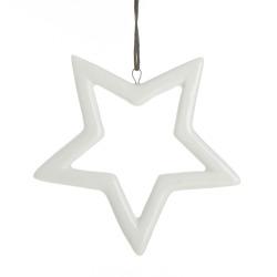 Dekorstjerne heng hvit porselen H:9 cm (hul)