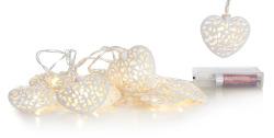 Lyslenke hjerte metall hvit 10 lys LED batteri