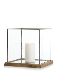 Madame Lykt Fredrikke glass/tre  H:31 B:32 D:32