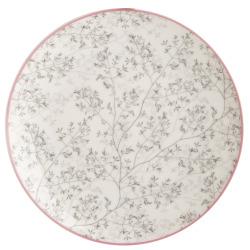 Asjett Songvaar grått stråmønster m/rosa kant