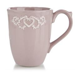Krus Hjerte Relieff dus rosa H:10 cm