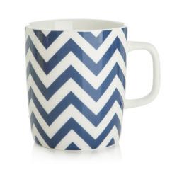 Krus hvit m/blå striper
