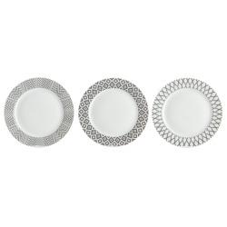 Asjett 3 pk m/ass mønster grå