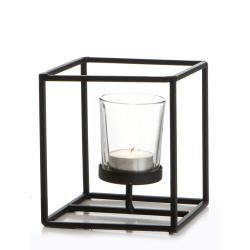 Telysestake sort jern m/lysglass H:12,5 cm
