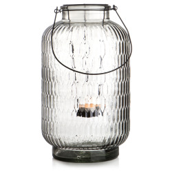 Lyslykt/vase sort m/sort hank H:39 cm