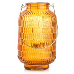 Lyslykt/vase orange m/gull hank H:24 cm