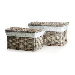 Kiste Songvaar s/2 grå kurv m/blå/hvit trekk