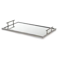Lys/serveringsfat med speil/håndtak L:50x30 cm