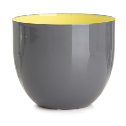 Lysglass/skål grå/gul H:8 cm