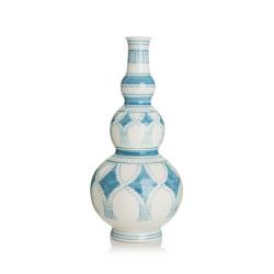Dekorvase blå/hvit H:31 Ø:14 cm