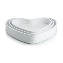 Brett hjerteformet s/3 hvit