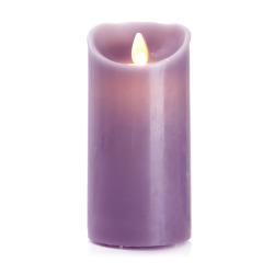 Kubbelys m/voks LED lilla H:15 Ø:7,5 cm