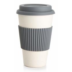 Kaffekrus m/silikonlokk grå 400 ml