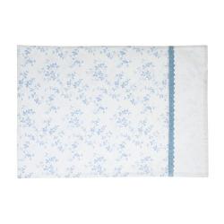 Spisebrikke hvit med blå blader Songvaar