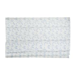 Liftgardin hvit m/blå blader 110x130 cm Songvaar