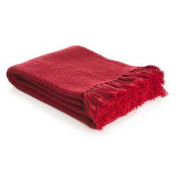 Pledd i vaffelmønster Lill 130x170 cm rød