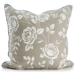 Pute beige m/hvite roser 50x50 cm Songvaar