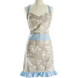 Forkle beige m/hvite roser og blå kanter 79x78 cm Songvaar