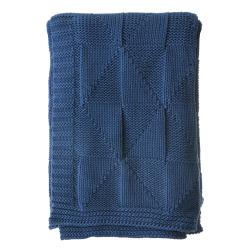 Pledd strikket blått Millie 125x150 cm