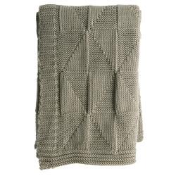 Pledd strikket mosegrønn Millie 125x150 cm