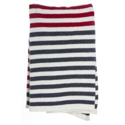 Pledd Tinn lammeull striper offwhite/grå/rød 125x150 cm