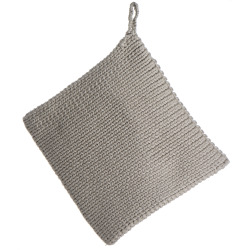 Gryteklut strikket beige 20x20 cm