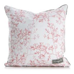 Pute hvit bunn m/rosa broderte strå og grå bakside 50x50 cm