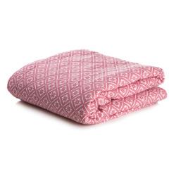 Quilt teppe rosa m/hvitt mønster 150x150 cm
