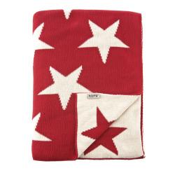 Pledd Star rød 130x170, bomull