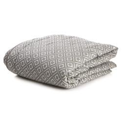 Quilt teppe grått m/hvitt mønster 150x150 cm