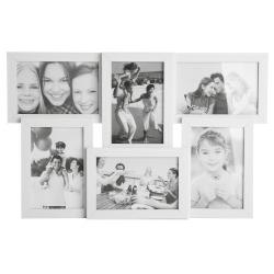 Ramme hvit 6 bilder 45x29 cm