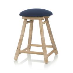 Krakk rund bambus m/blått sete Ø:30 H:43 cm