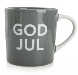 Krus m/tekst God Jul på grå bunn