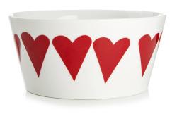 Skål m/røde hjerter Ø:16 H:7,5 cm
