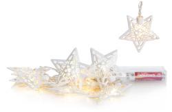 Lyslenke stjerne hvit metall 10 lys LED batteri