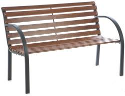 Hagebenk brun eik/sort stål l122 cm