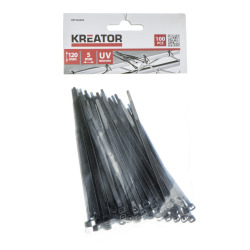 Kabelstrips svarte 100 pk 5 x 120 mm Kreator