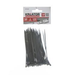 Kabelstrips svarte 100 3 x 120 mm Kreator